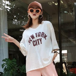 Lettering Elbow-Sleeve T-Shirt 1064696172