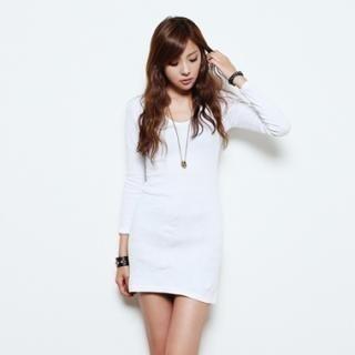 Buy COZY Long-Sleeve V-Neck Dress 1023062124