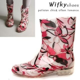 Picture of Wifky Floral Printed Rain Boots 1022441717 (Boots, Wifky Shoes, Korea Shoes, Womens Shoes, Womens Boots)