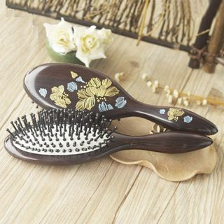 Image of Floral Print Wooden Hair Brush