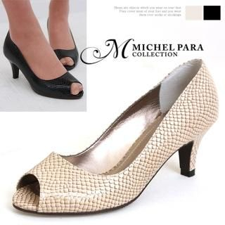 Buy MICHEL PARA COLLECTION Faux Snakeskin Peep Toe Pumps 1022389971