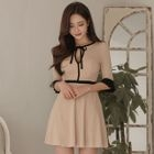 Piped Elbow-Sleeve Dress 1596