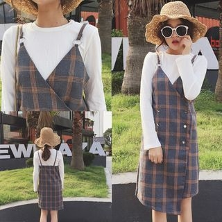 Set: Rib Knit Top + Plaid Double Breasted Pinafore Dress 1054028982