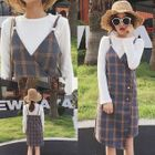 Set: Rib Knit Top + Plaid Double Breasted Pinafore Dress 1596