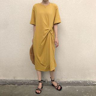 Image of Elbow-Sleeve Twisted Midi Dress