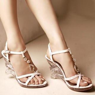 Buy Kvoll Rhinestone T-Bar Wedge Sandals 1022892217