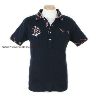 Buy Yellow Jacket Embroidered Stripe-Collar Polo Shirt 1022499924