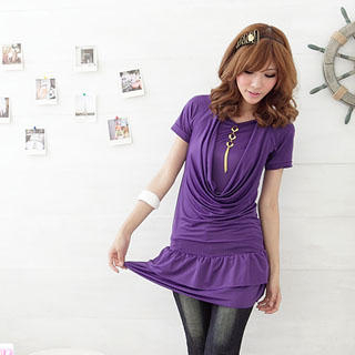 Picture of RingBear Inset Tee Drape Front Dress with Charm 1023053180 (RingBear Dresses, Womens Dresses, Taiwan Dresses)