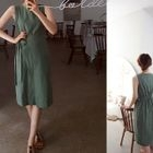 Sleeveless Tie-Waist Linen Blend Dress 1596