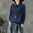 Image of Floral Embroidered Corduroy Shirt