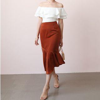 Image of Asymmetric Hem Mermaid Midi Pencil Skirt
