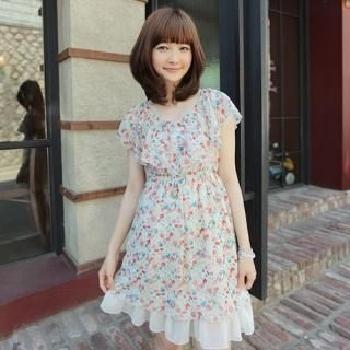 Picture of CLICK Cape Collar Chiffon Dress 1022828619 (CLICK Dresses, Womens Dresses, South Korea Dresses, Chiffon Dresses)