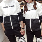 Couple Matching Hooded Color Panel Windbreaker 1596