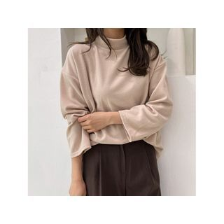 Mockneck Soft-touch Top Beige - One Size