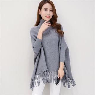 Fringe Hem Turtle Neck Sweater 1053025224