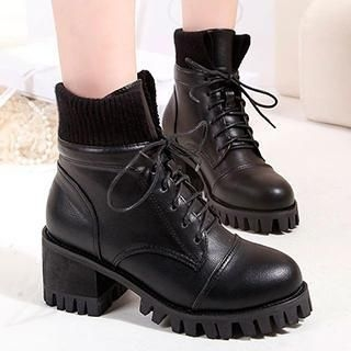 Lace-Up Heel Ankle Boots