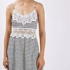 Sleeveless Striped Crochet Panel Dress 1596