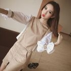 Set: Color Panel 3/4 Sleeve Blouse + Zip Front Mini Skirt 1596