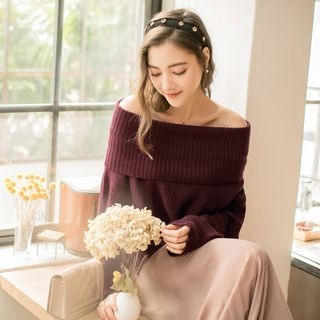 Off-Shoulder Slit-Side Sweater
