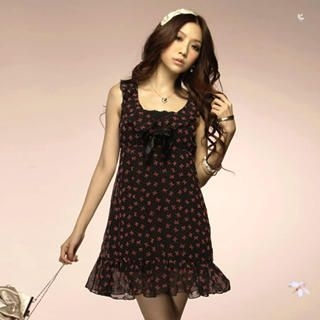 "Buy Tokyo Fashion Sleeveless ""Bow"" Print Chiffon Dress 1022523403"