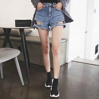 Distressed Washed Denim Shorts 1058233348