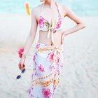 Set: Halter Floral Print Bikini + Floral Print Cover-up 1596