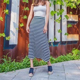 Band-Waist Striped Long Skirt 1050892149