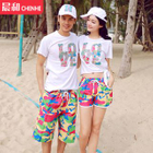 Couple Matching Printed Swim Shorts / Letter T-shirt 1596
