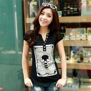 Skull V-Neck Short-Sleeve T-Shirt 1054127747