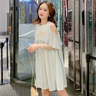 Image of Maternity Cold Shoulder Striped Panel A-Line Dress