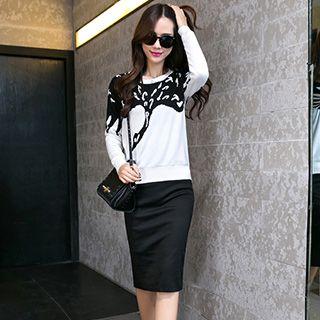 Set: Printed Knit Top + Pencil Skirt
