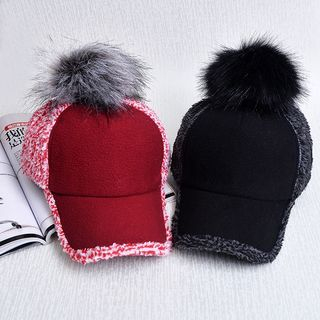 Pompom-Accent Baseball Cap 1055369170