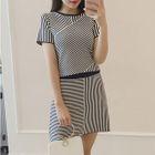 Set: Striped Short Sleeve Knit Top + A-line Knit Skirt 1596