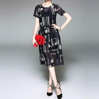 Set: Printed Short-Sleeve A-Line Midi Dress + Strappy Dress 1060387932