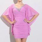 V-Neck Elbow Sleeve Embellished Dress 1596