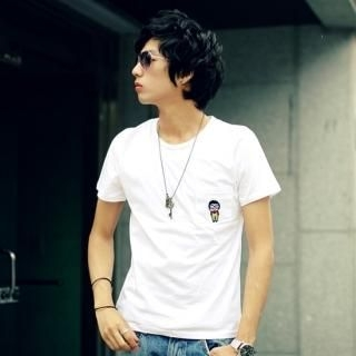 Picture of ISNOM Embroidered Short-Sleeve T-Shirt 1022883915 (ISNOM, Mens Tees, South Korea)