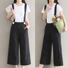 Plain Cropped Wide Leg Suspender Pants 1596