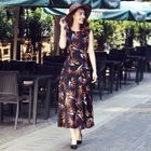Printed Sleeveless Chiffon Maxi Dress 1596