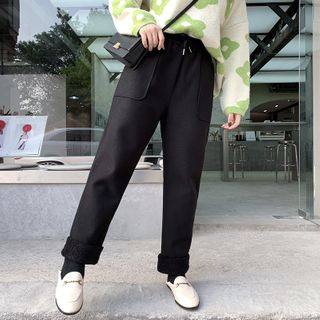 Image of Fleece-Lined Drawstring Straight Cut Pants