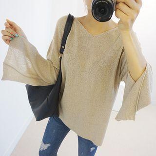 V-Neck Slit-Sleeve Knit Top 1052676540