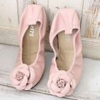 Genuine Leather Flower-Accent Flats