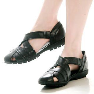 Buy Kvoll Genuine Leather Cross-Strap Sandals 1022501816