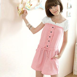 Buy Tokyo Fashion Short-Sleeve Frilled Polka Dot Dress 1023000340