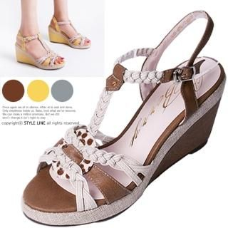 Buy STYLE LINE Braided T-Strap Wedge Sandals 1022884267