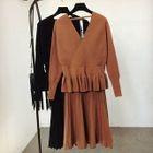 Set: Long-Sleeve Knit Top + Midi Skirt 1596