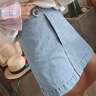 Buttoned A-Line Denim Skirt