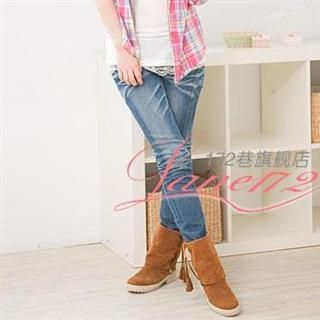 Picture of Lane172 Fringe Trimmed Suede Boots 1021590736 (Boots, Lane172 Shoes, Taiwan Shoes, Womens Shoes, Womens Boots)