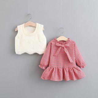 Long-sleeve | Plaid | Dress | Vest | Kid