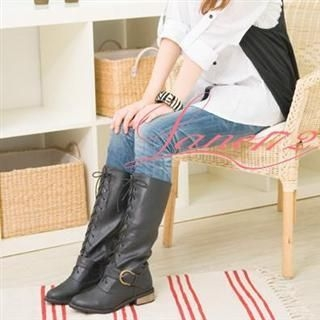 Buy Lane172 Side Zip Buckled Lace-Up Long Boots 1021590739