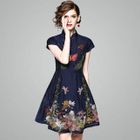 Embroidered Short Sleeve Mandarin Collar Dress 1596